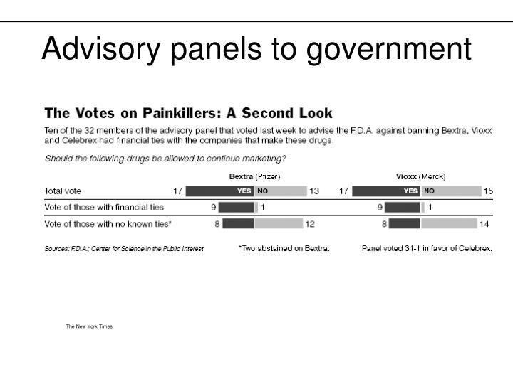 Advisory panels to government