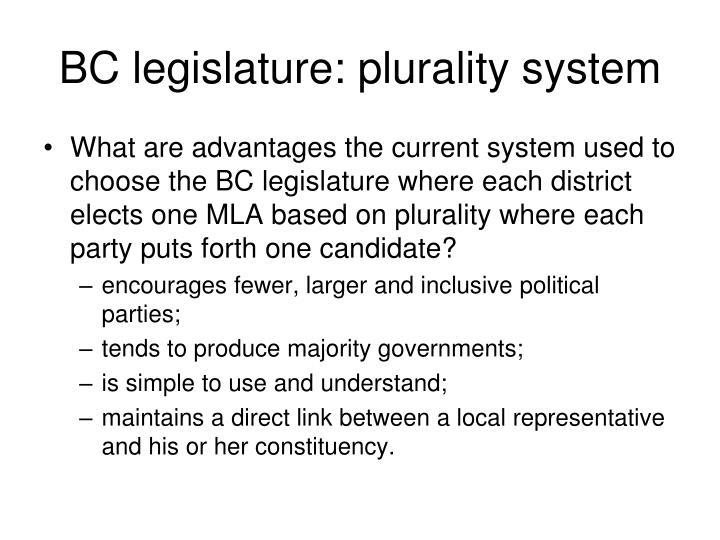 BC legislature: plurality system
