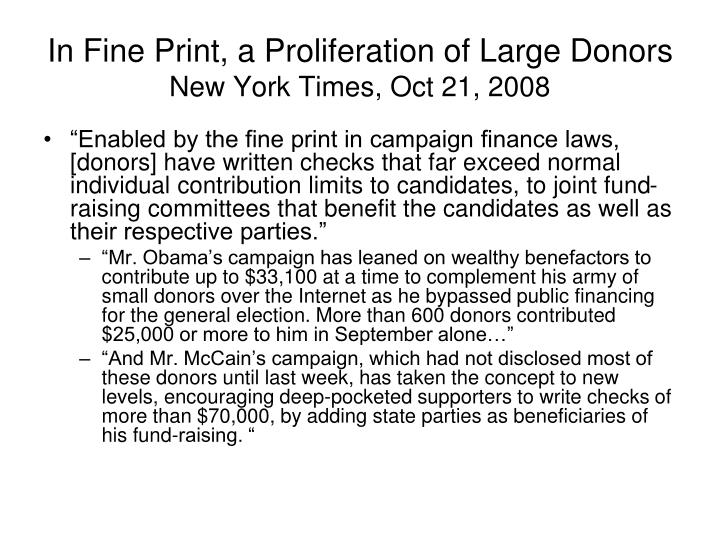 In Fine Print, a Proliferation of Large Donors