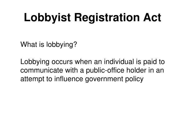Lobbyist Registration Act
