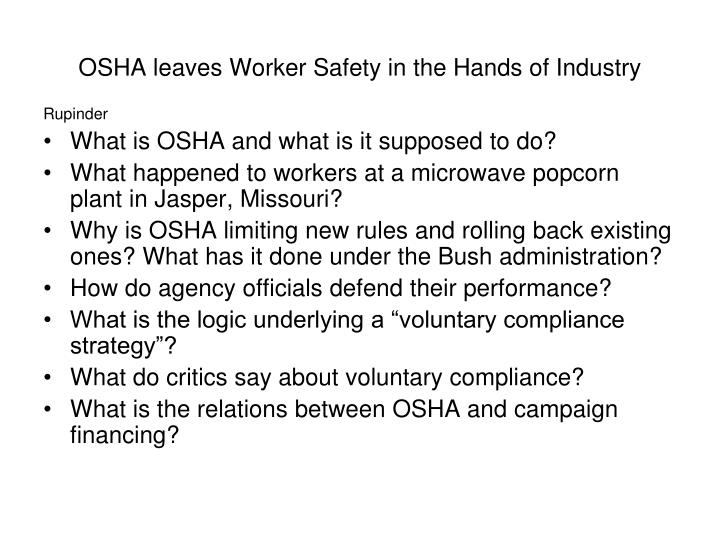 OSHA leaves Worker Safety in the Hands of Industry