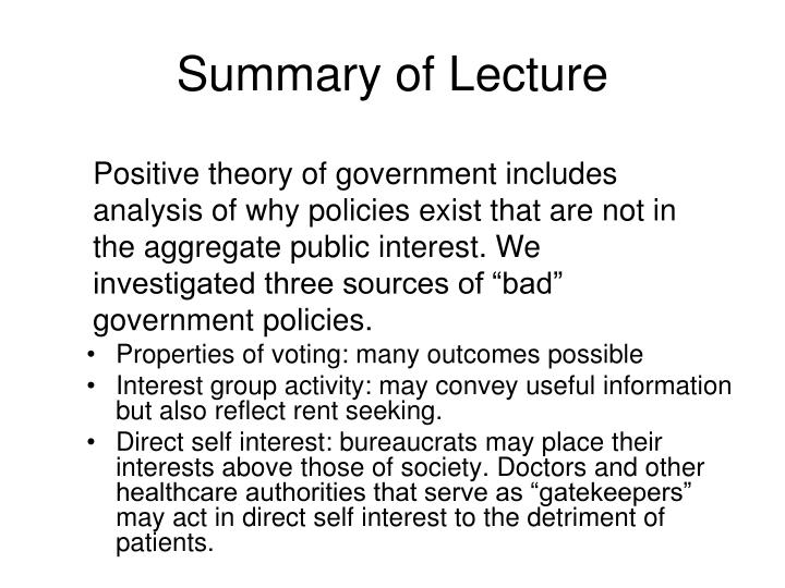 Summary of Lecture