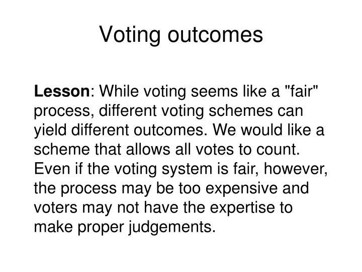 Voting outcomes
