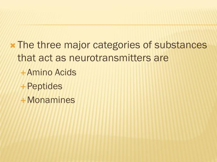 The three major categories of substances that act as neurotransmitters are