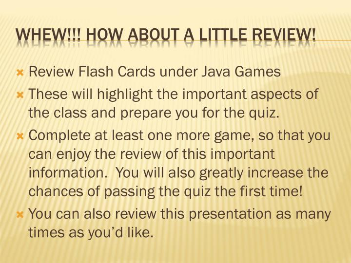 Review Flash Cards under Java Games