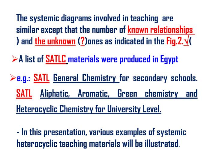 The systemic diagrams involved in teaching  are