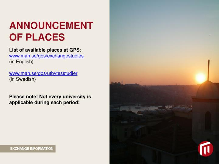 ANNOUNCEMENT OF PLACES