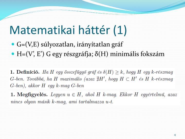 Matematikai háttér (1)