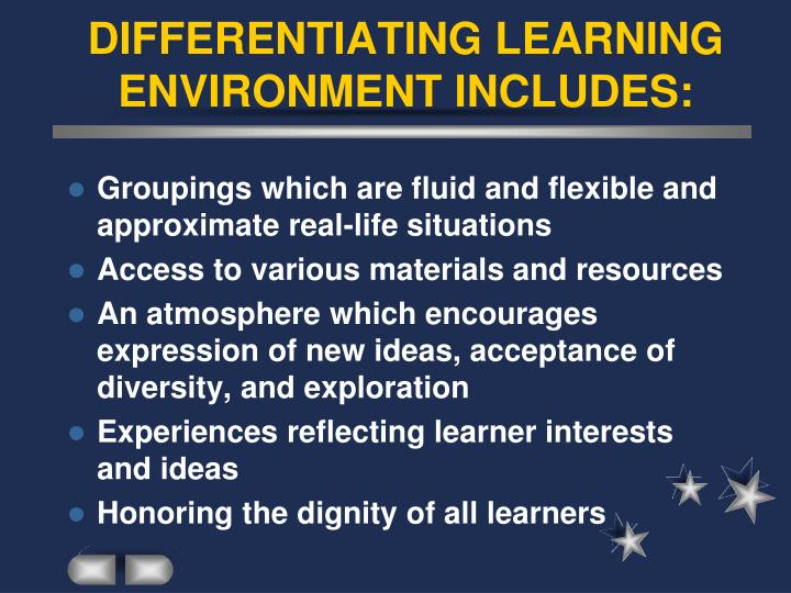DIFFERENTIATING LEARNING ENVIRONMENT INCLUDES: