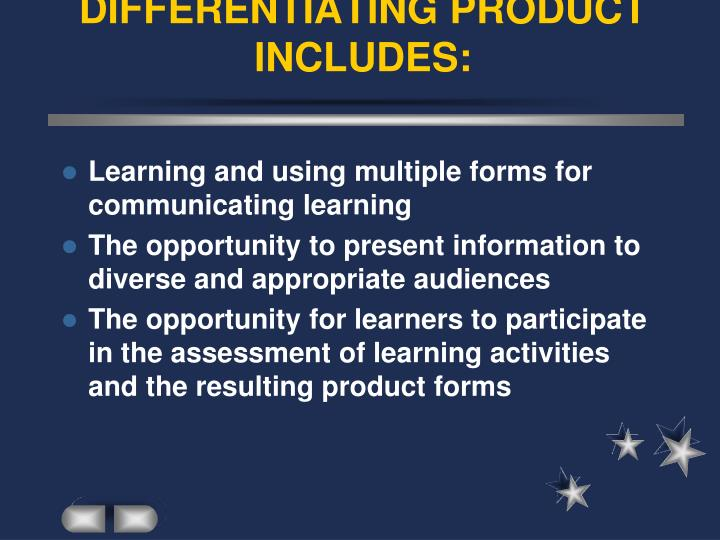 DIFFERENTIATING PRODUCT INCLUDES: