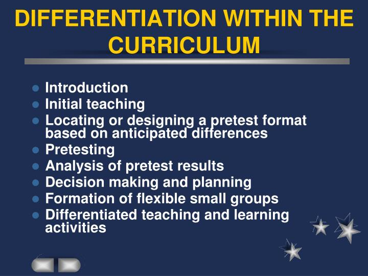 INCORPORATING DIFFERENTIATION WITHIN THE CURRICULUM