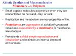 abiotic synthesis of macromolecules monomers polymers