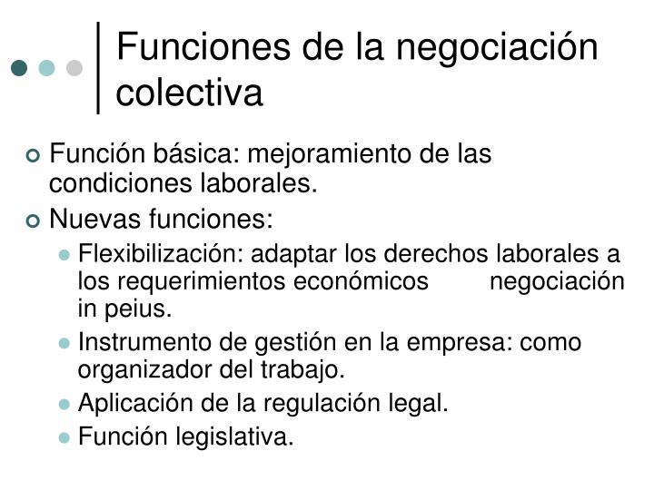 Funciones de la negociación colectiva