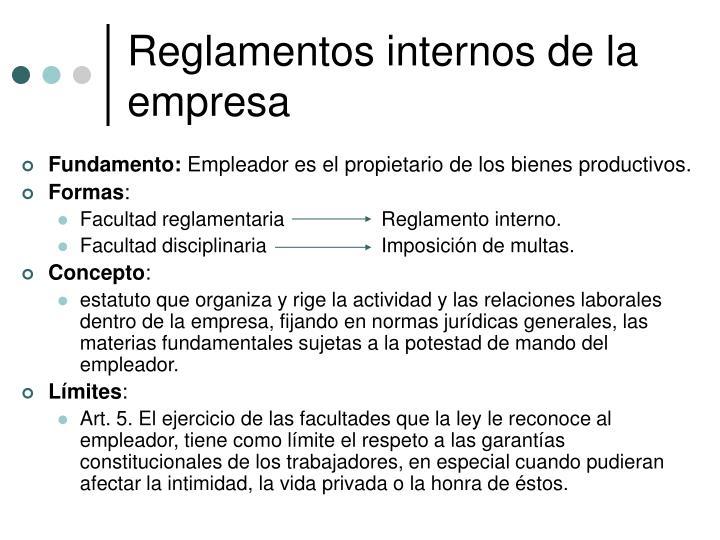 Reglamentos internos de la empresa