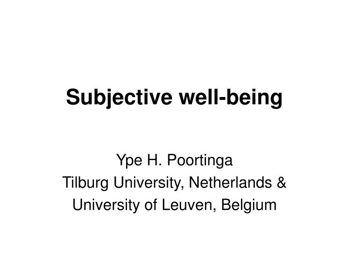 subjective well being n.