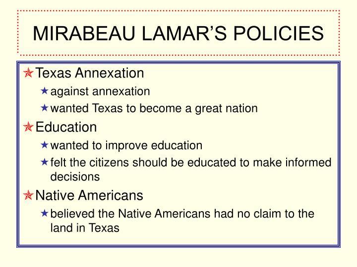 MIRABEAU LAMAR'S POLICIES