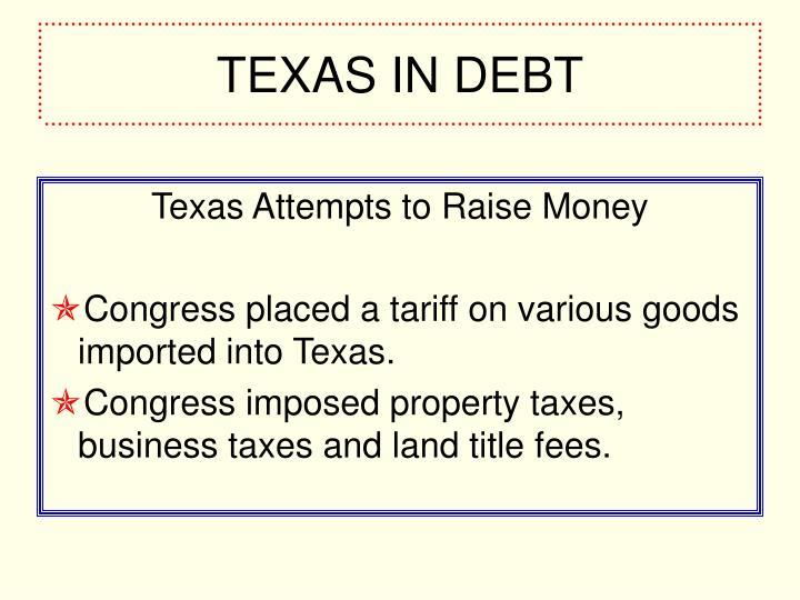 TEXAS IN DEBT