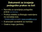 dokumenti za izvajanje pedago ke prakse na oli
