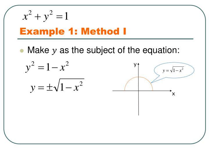 Example 1: Method I