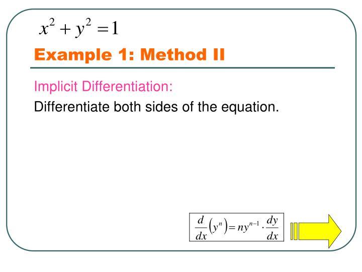 Example 1: Method II