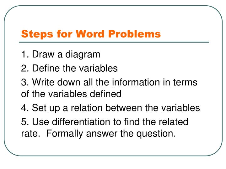 Steps for Word Problems