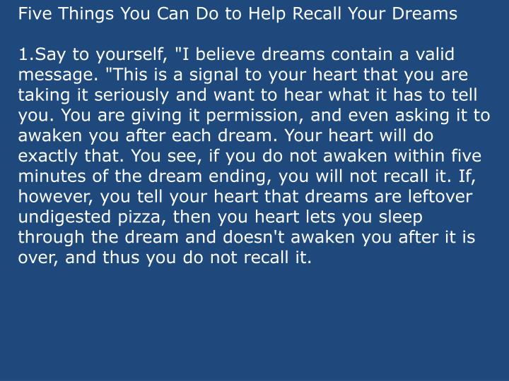 Five Things You Can Do to Help Recall Your Dreams