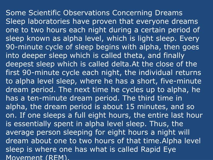 Some Scientific Observations Concerning Dreams