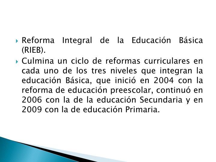 Reforma Integral de la Educación Básica (RIEB).