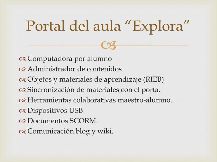 """Portal del aula """"Explora"""""""