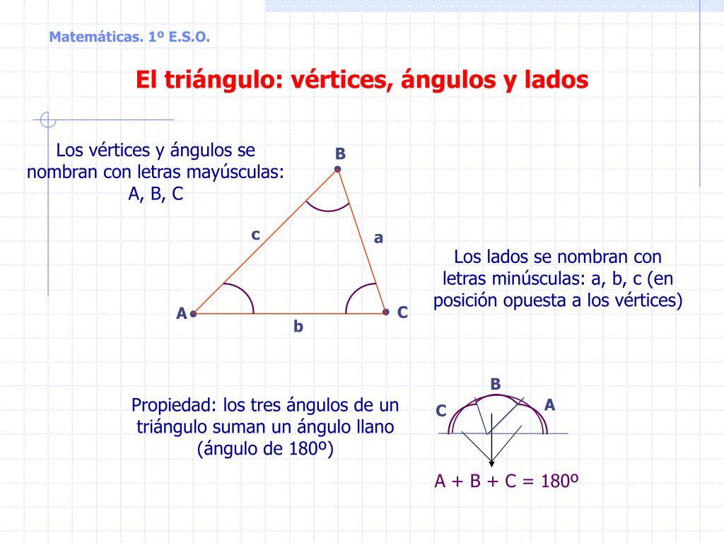 Ppt El Triángulo Vértices ángulos Y Lados Powerpoint Presentation Id 6150010