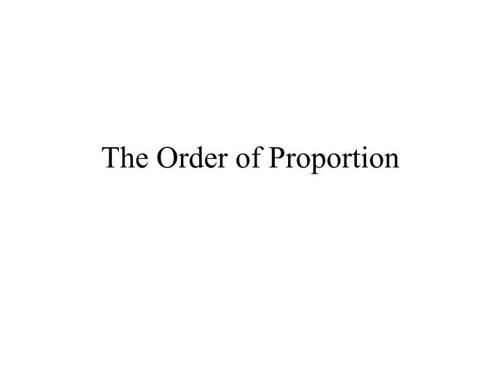 the order of proportion n.