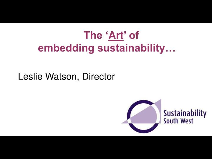 the art of embedding sustainability n.