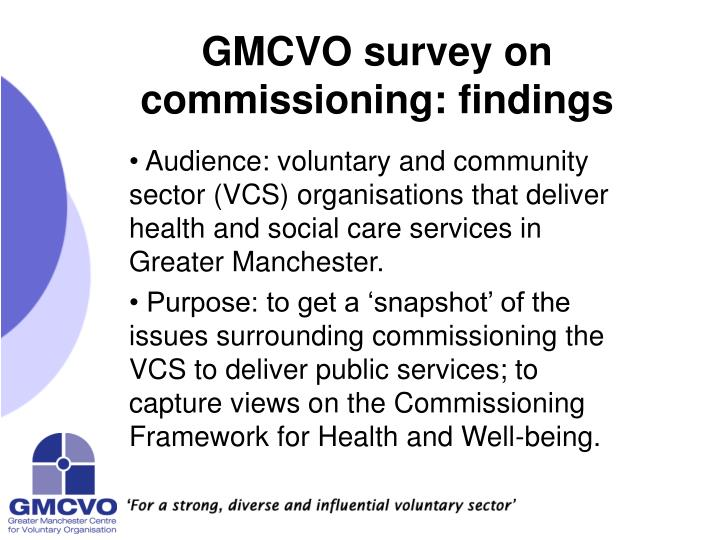 gmcvo survey on commissioning findings n.