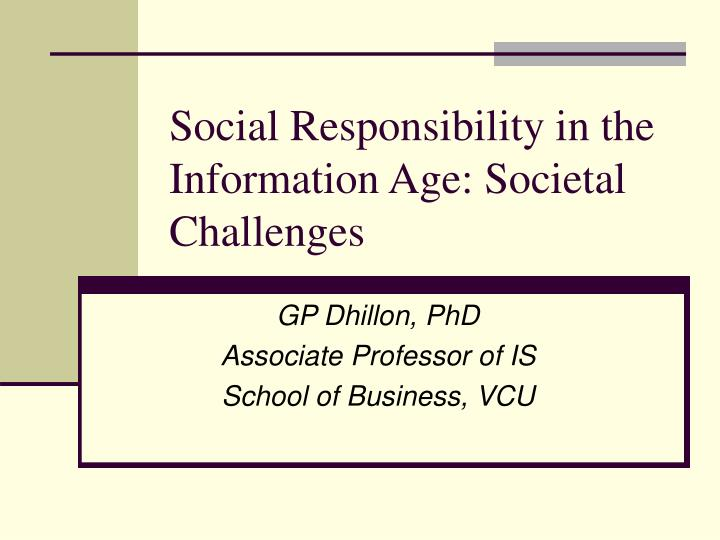 social responsibility in the information age societal challenges n.