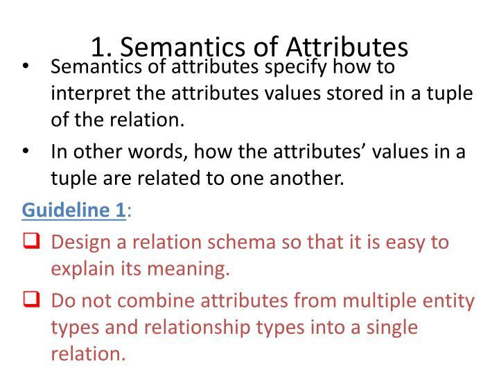 1. Semantics of Attributes