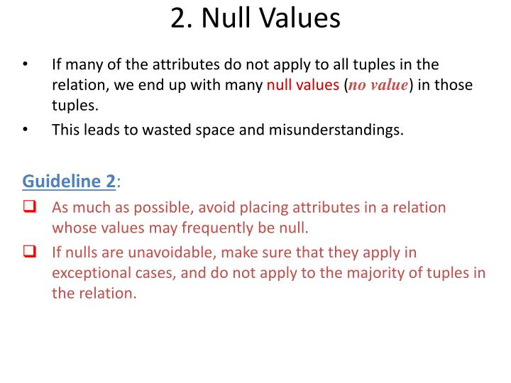 2. Null Values