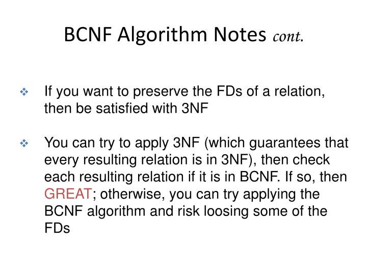 BCNF Algorithm Notes