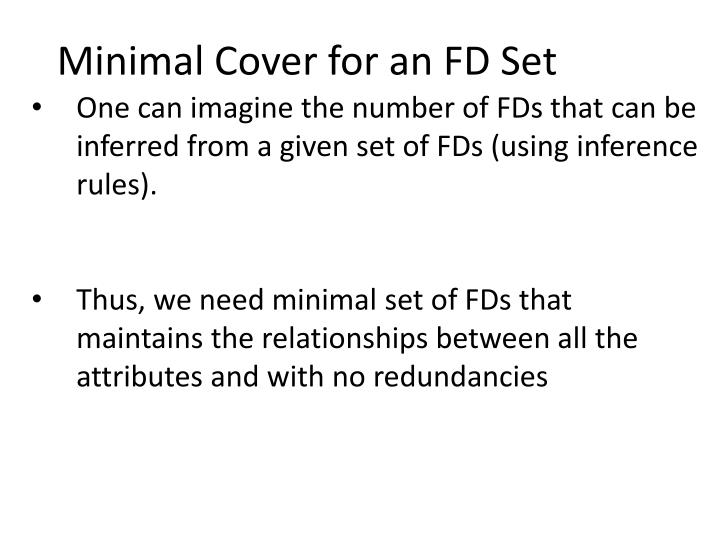 Minimal Cover for an FD Set