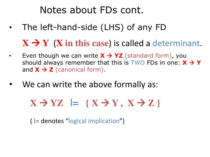 Notes about FDs cont.