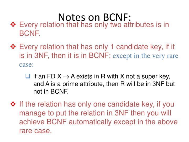 Notes on BCNF: