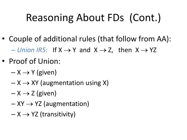 Reasoning About FDs  (Cont.)