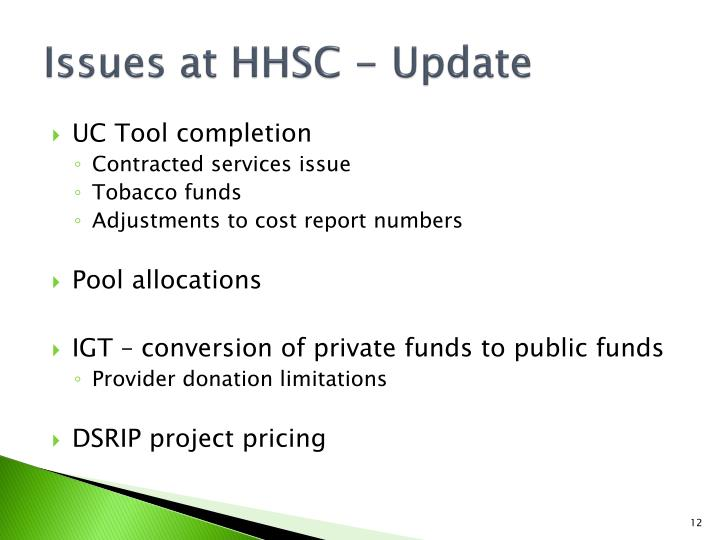 Issues at HHSC - Update