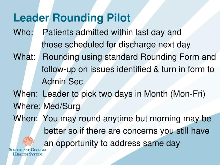 Who:    Patients admitted within last day and