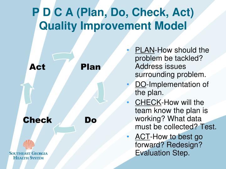 P D C A (Plan, Do, Check, Act)