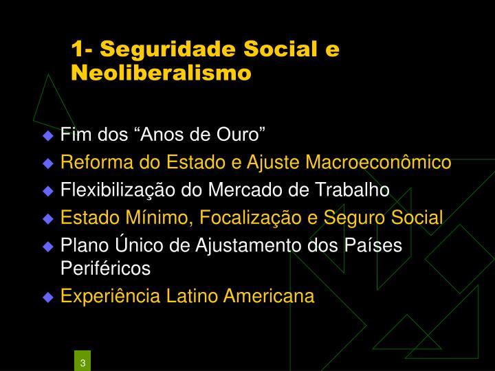 1 seguridade social e neoliberalismo