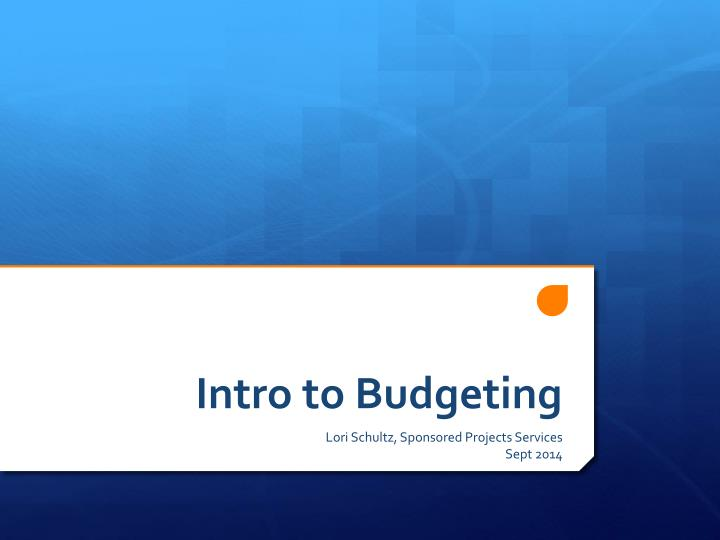 intro to budgeting n.