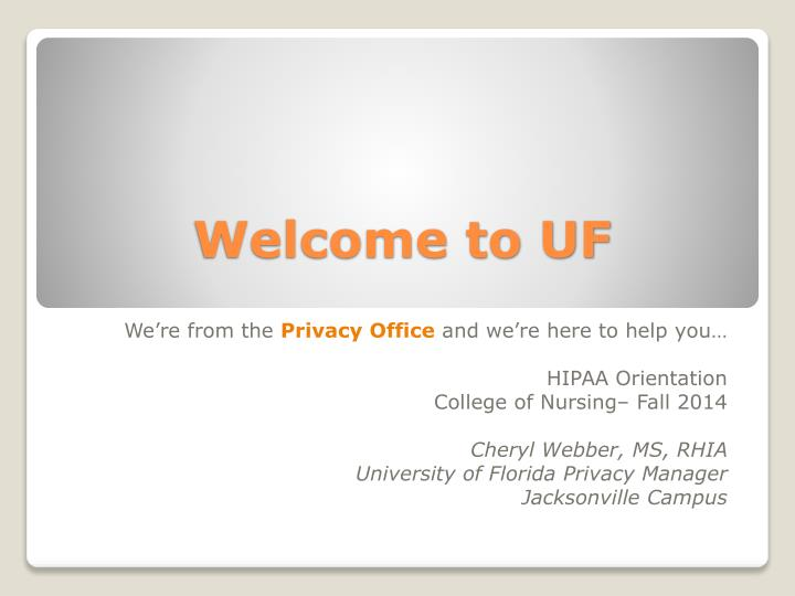 welcome to uf n.