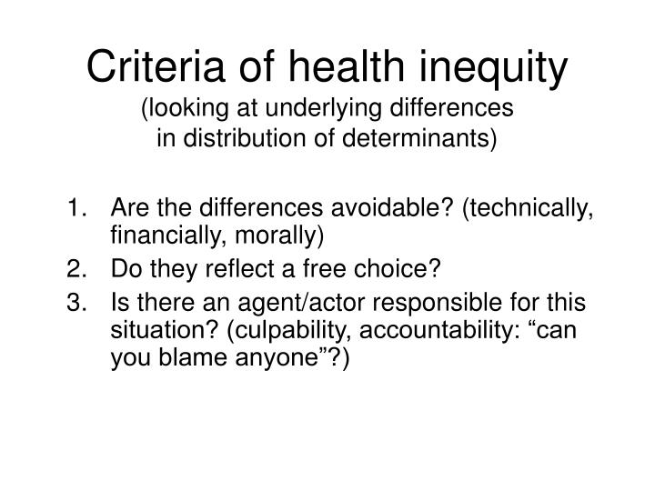 Criteria of health inequity