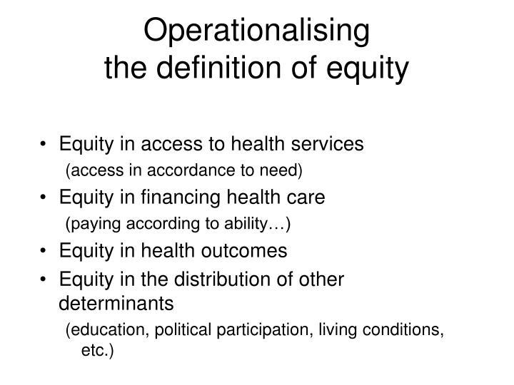 Operationalising