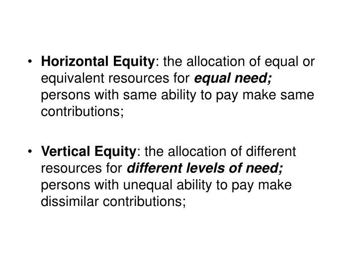 Horizontal Equity